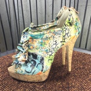 Chinese Laundry Floral Stilettos with Cork Heels.